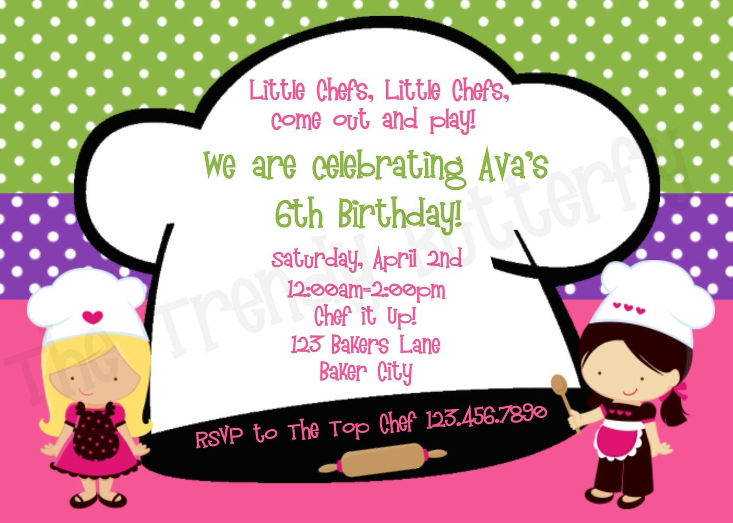 Chef Cooking Birthday Party Invitation Cooking Party Invitations ...