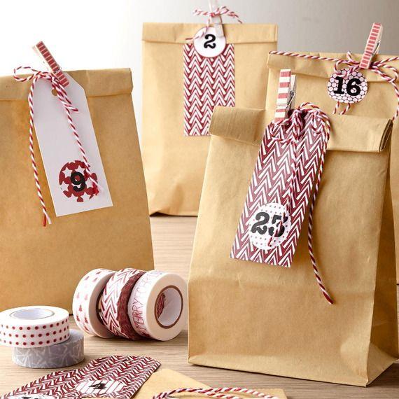 Lot De 24 Pochettes Cadeau Papier Kraft Diy Calendrier De L 39 Avent Faire Soi M Me No L