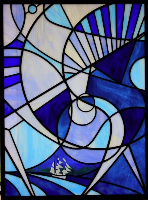 blue abstract stained glass art deco stained glass. Black Bedroom Furniture Sets. Home Design Ideas