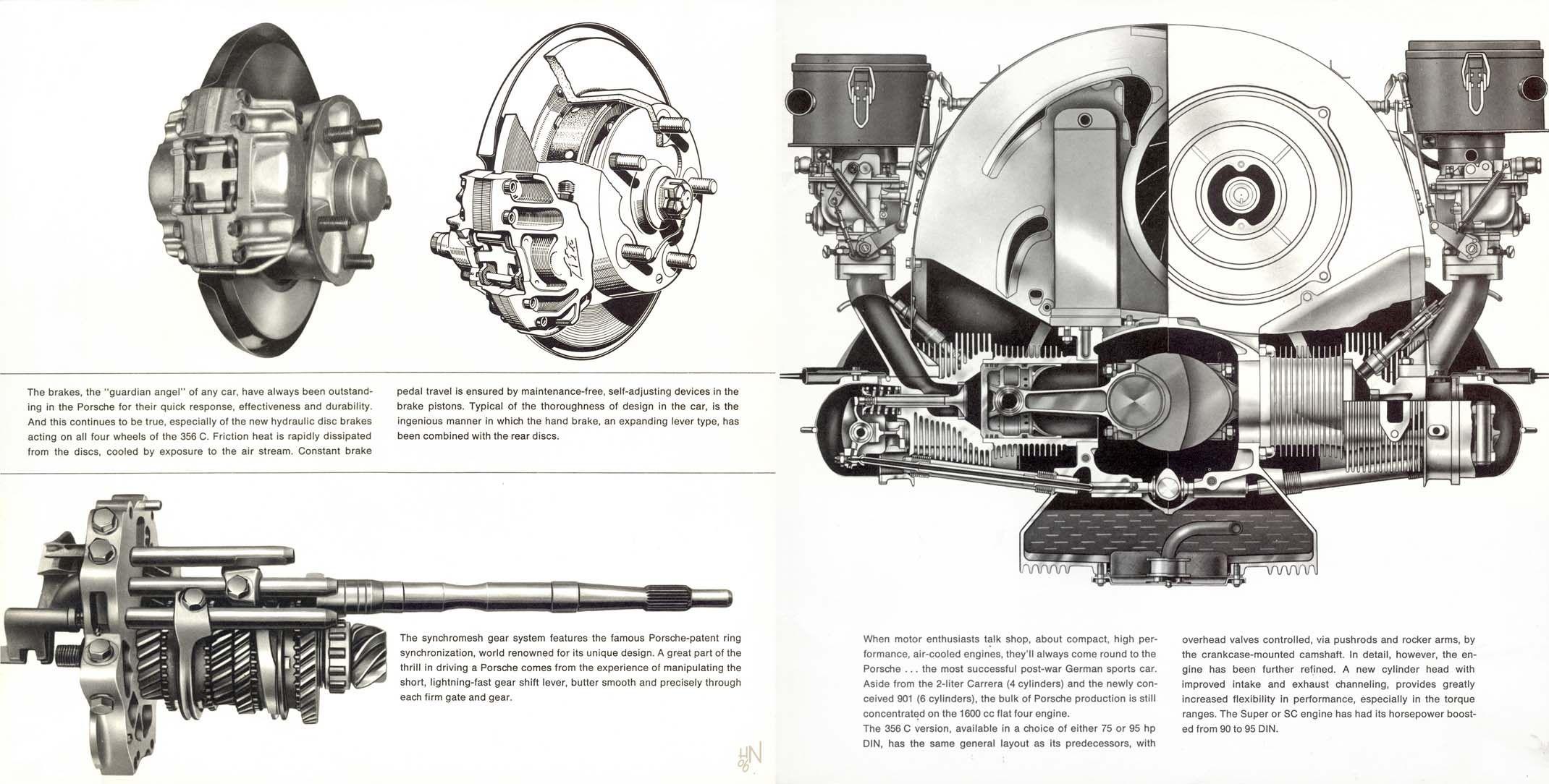 1964 Porsche 356C U.S. brochure page 18 & 19
