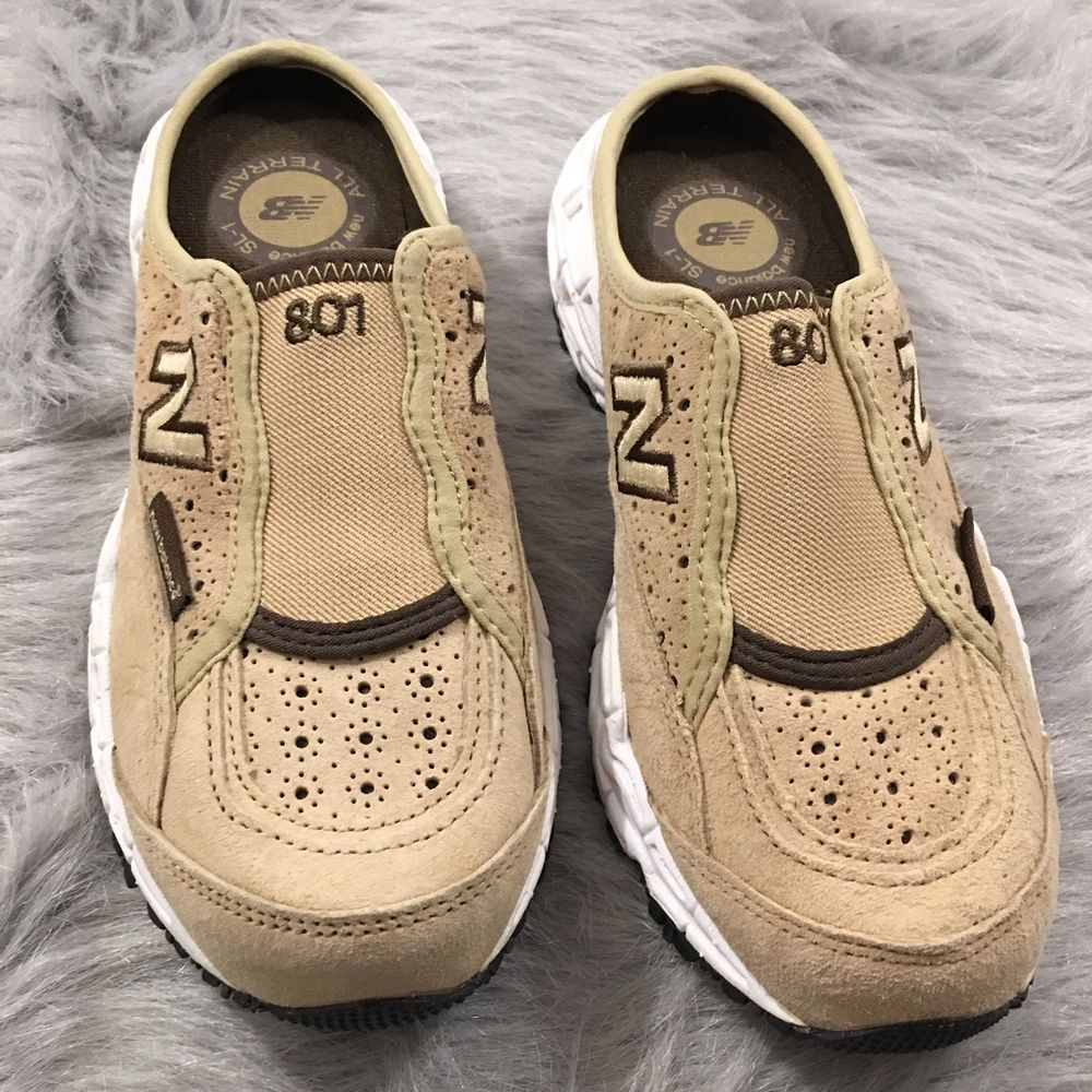 40d31575fd437 Womens New Balance W801FC 801 Tan Suede All Terrain Mules Shoes Sneakers  Size 6   eBay
