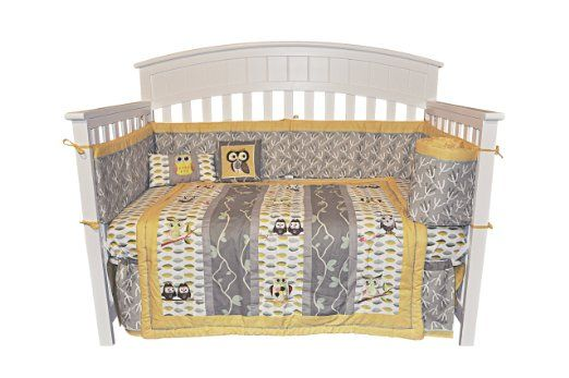 10pc Owl Gender Neutral Crib Bedding Set Grey Yellow Baby 100