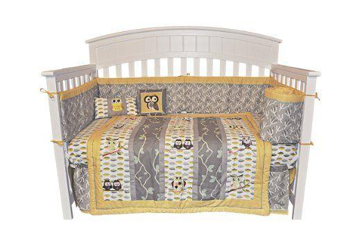 Amazon Com 10pc Owl Gender Neutral Crib Bedding Set Grey Yellow