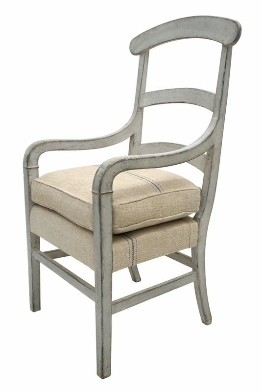 Tall Ladder Back Painted Wood Arm Chair With Loose Upholstered Seat