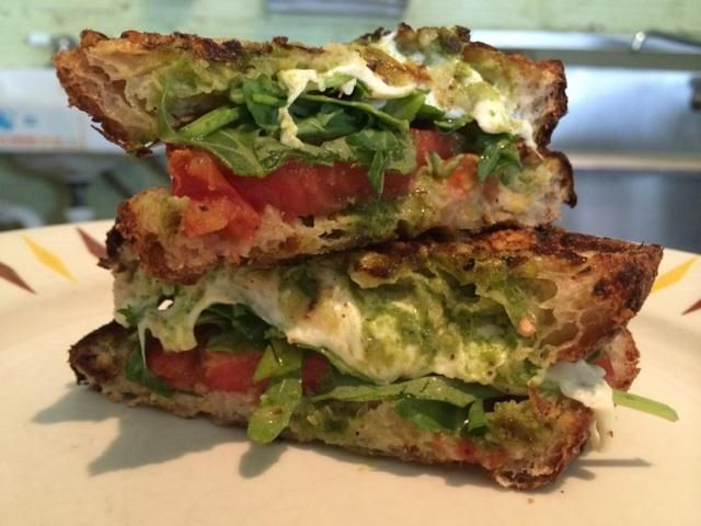 """Happy Gillis - Today's special : grilled """"caprese"""" sandwich on Fervere country bread and basil pesto from the garden."""