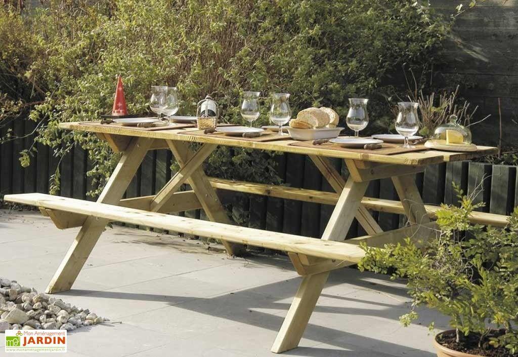 Table de Pique-Nique en Bois Autoclave 200 cm 28 mm Picnic ...