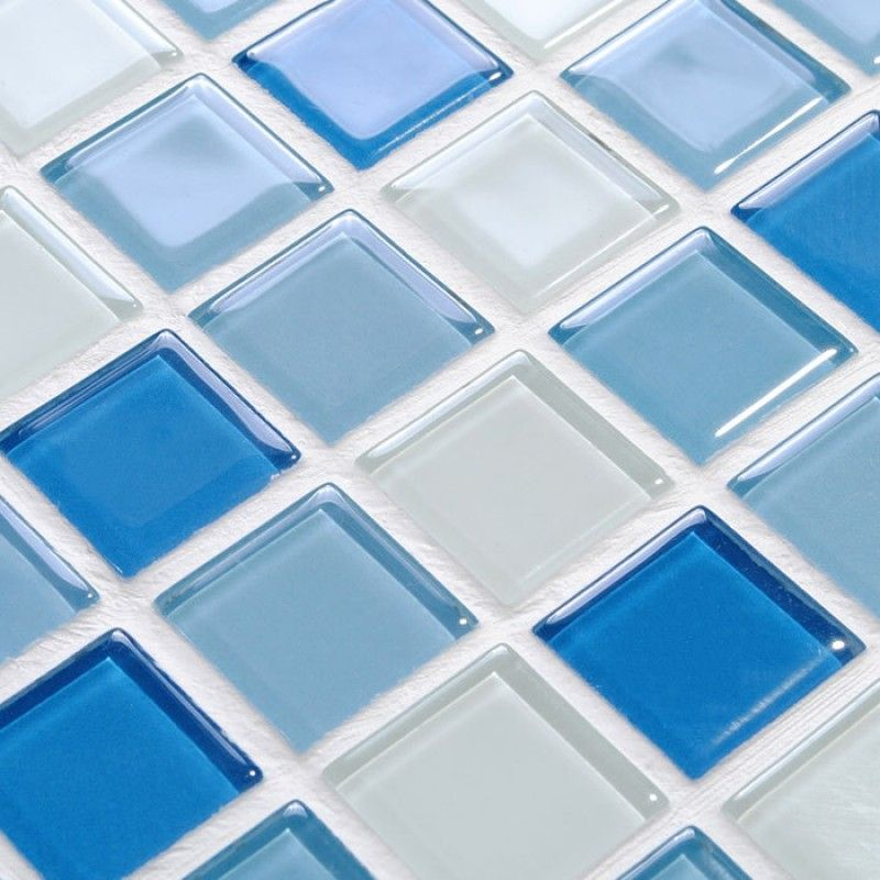 Decorative Pool Tiles Delectable Glass Mosaic For Swimming Pool Tile Blue White Mix Crystal Design Decoration