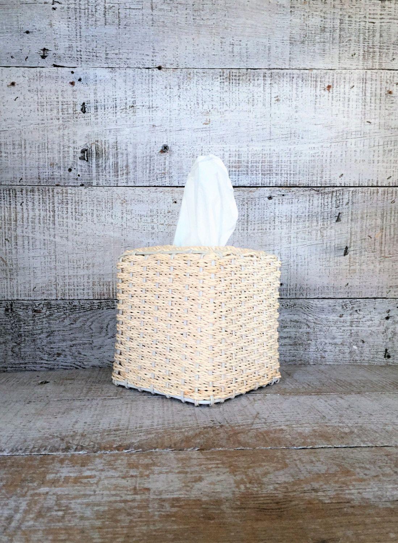 Tissue Box Cover Holder Antique White Wicker Rattan Bathroom Decor Decorative By