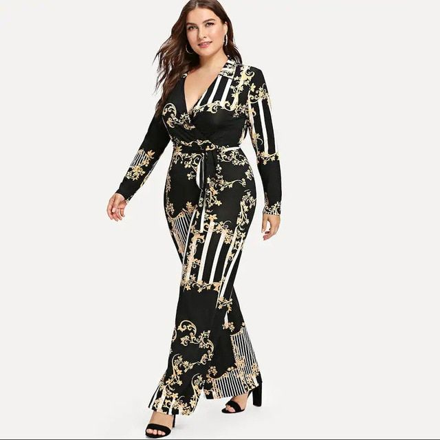 ac7389c05178 2018 New Autumn Trendy Rompers Womens Jumpsuit Fashion Boho printing Sexy  Deep V Neck Collect waist Romper Women Jumpsuits Pants  rompers  jumpsuit  ...
