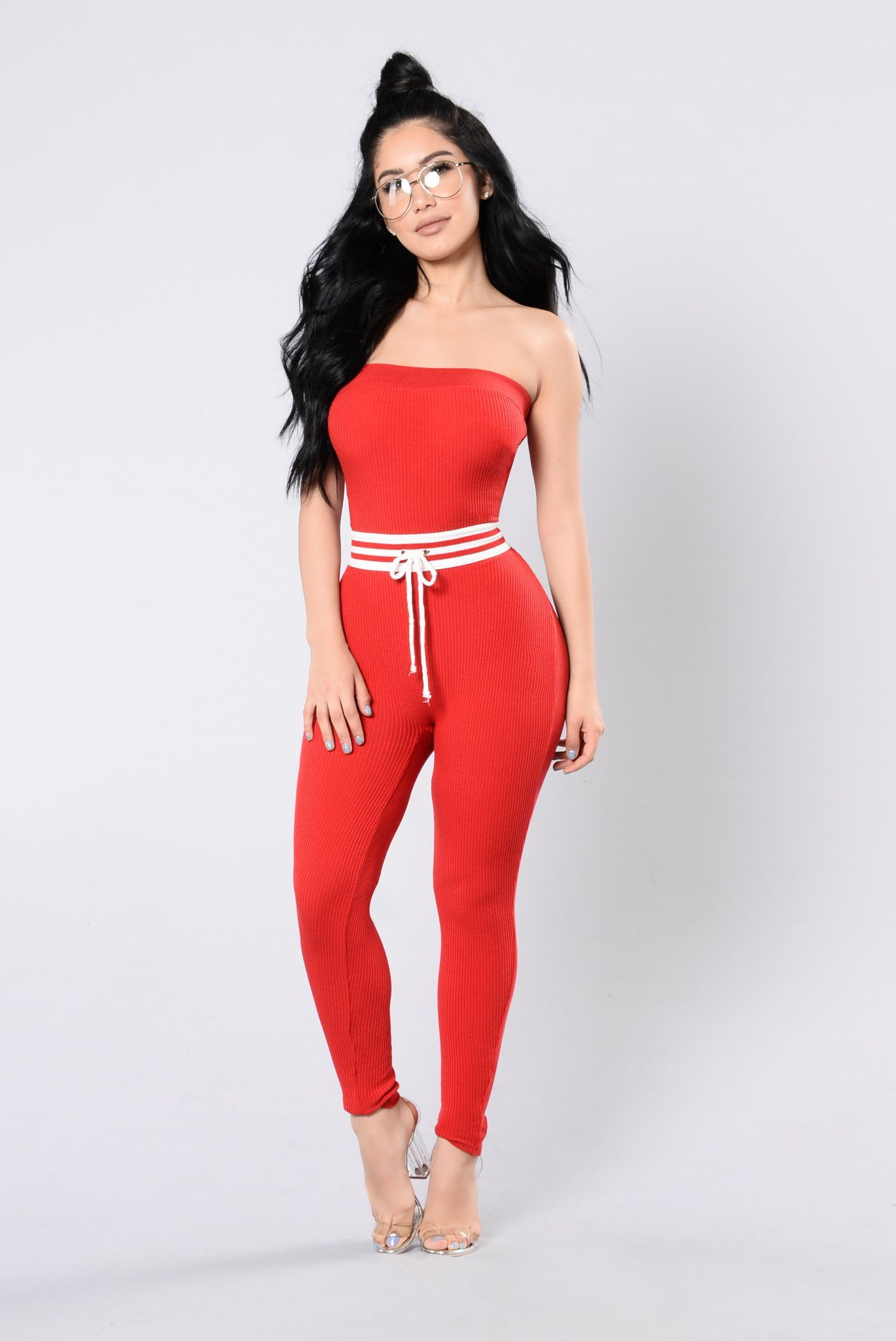 fc5afeef84b Available in Black and Red Tube Jumpsuit Ribbed Knit Waist Stripe Drawstring  90% Acrylic 10% Spandex