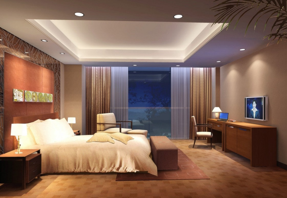 Beige Bedroom Design With Charming Recessed Ceiling Light Also Pleasant White Bed And Excellen With Images Romantic Bedroom Lighting Ceiling Design Bedroom Bedroom Ceiling