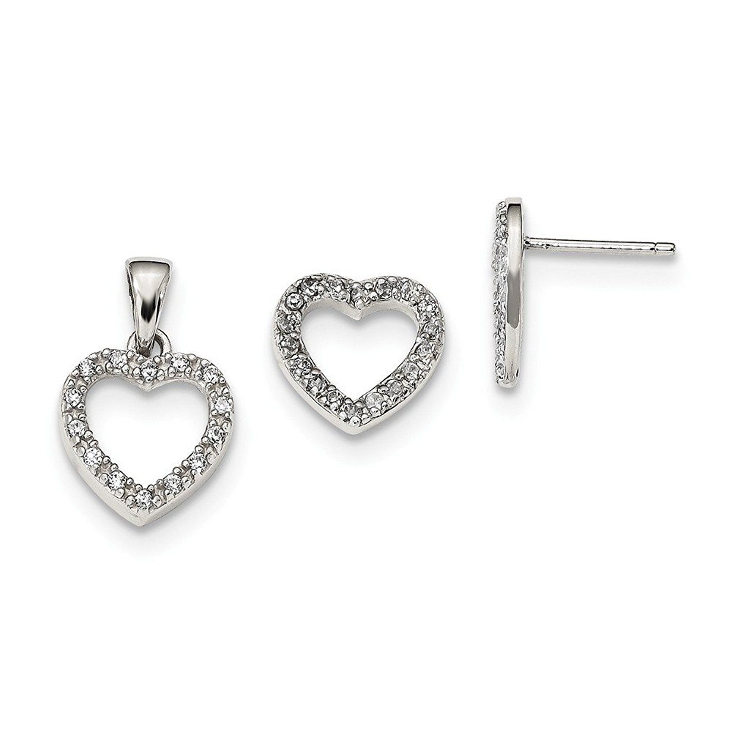 Sterling silver cz heart pendant and earring set details can be