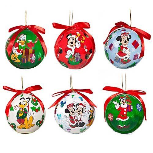 Disney Christmas Ornament Set Decoupage Santa Mickey And Friends