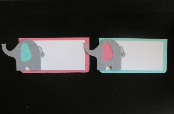 Elephant Food Buffet Tents / Place Cards Birthday Party Shower Set of 6 Pink Aqua Turquoise Blue by PeachyPaperCrafts