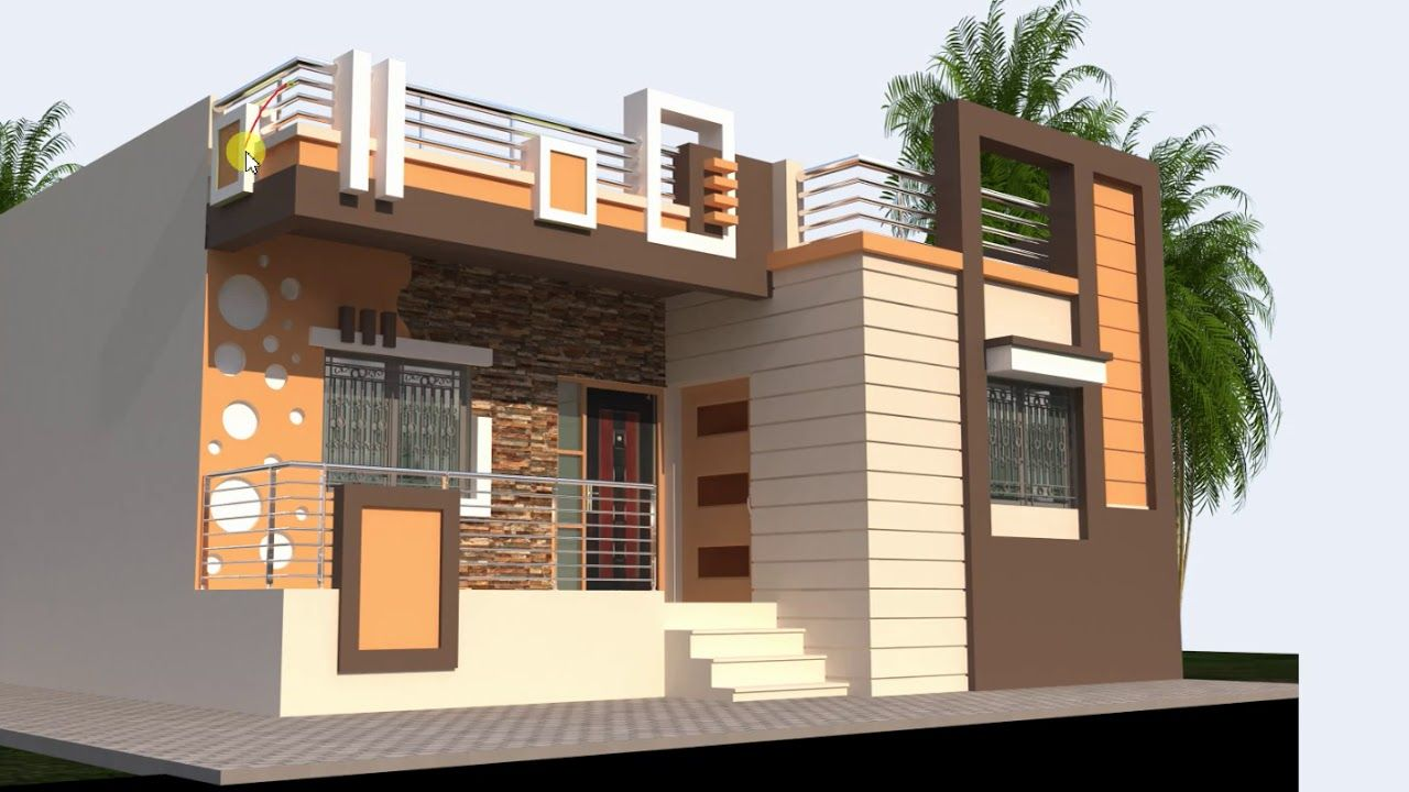 32 Feet Wide Low Cost House Front Design In 2019 House