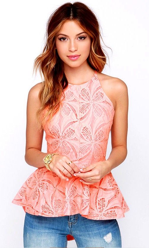 034806fd392fd Pleased to Chic You Bright Peach Lace Peplum Top