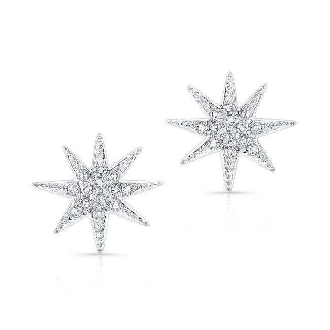 14kt White Gold Diamond Glimmer Star Stud Earrings Measures Roximately 3 8 In Diameter