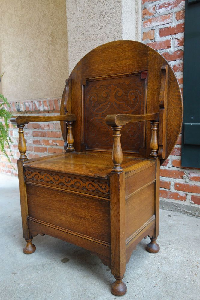 Antique English Carved Tiger Oak Monk S Bench Chair Chest