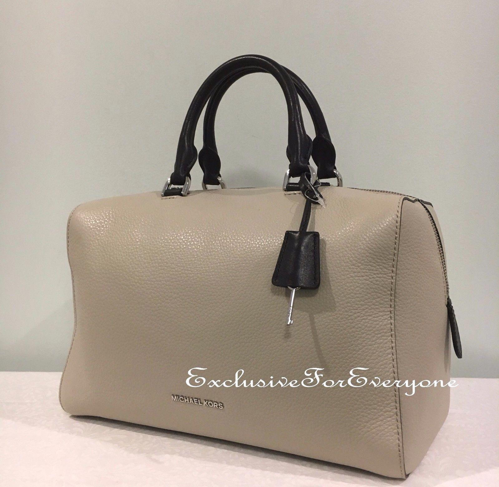 c326b51f5925 NWT Michael Kors Kirby Large Satchel Cement Black Leather Handbag  348   179.99
