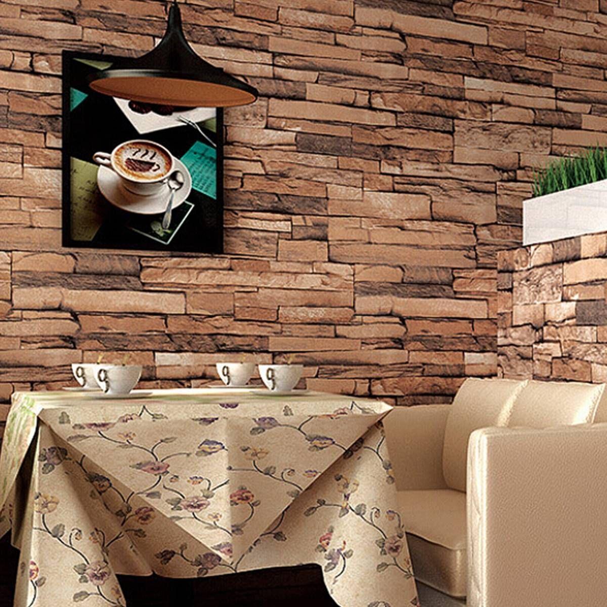 10M 3D Wallpaper Roll PVC Brick Grain Waterproof Wallpaper