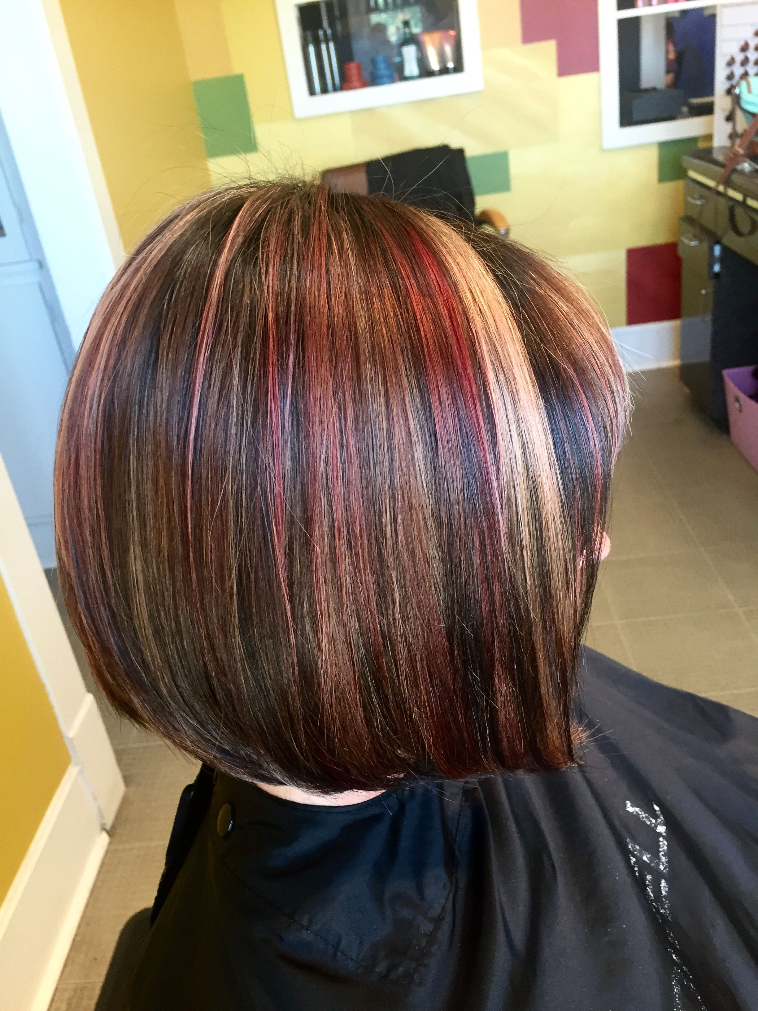 Red Blonde And Dark Brown Highlight And Lowlight And Bob Haircut By