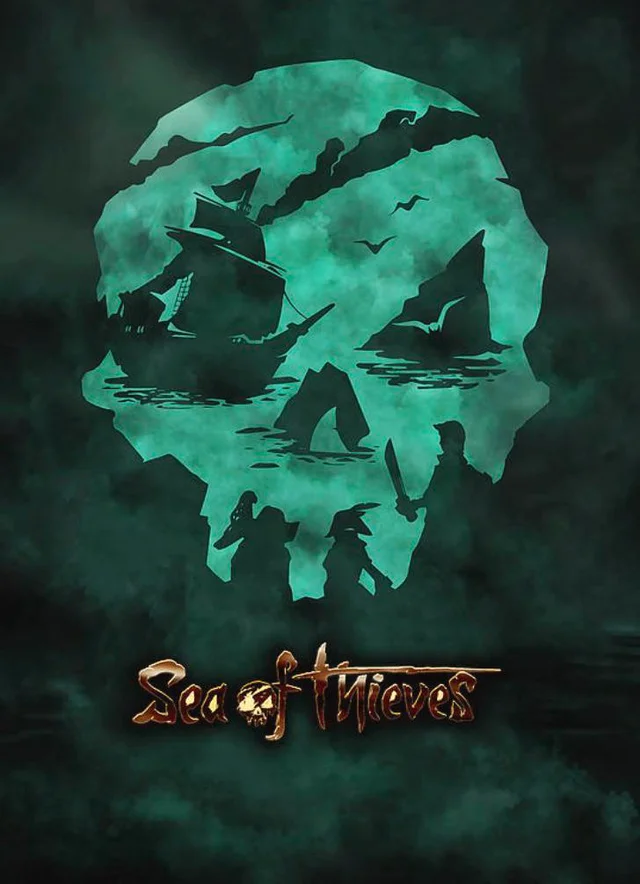 1 The Sea Of Thieves Logo Is A Skull But Also A Boat Rock Shark And Crew Designporn Sea Of Thieves Sea Neon Wallpaper
