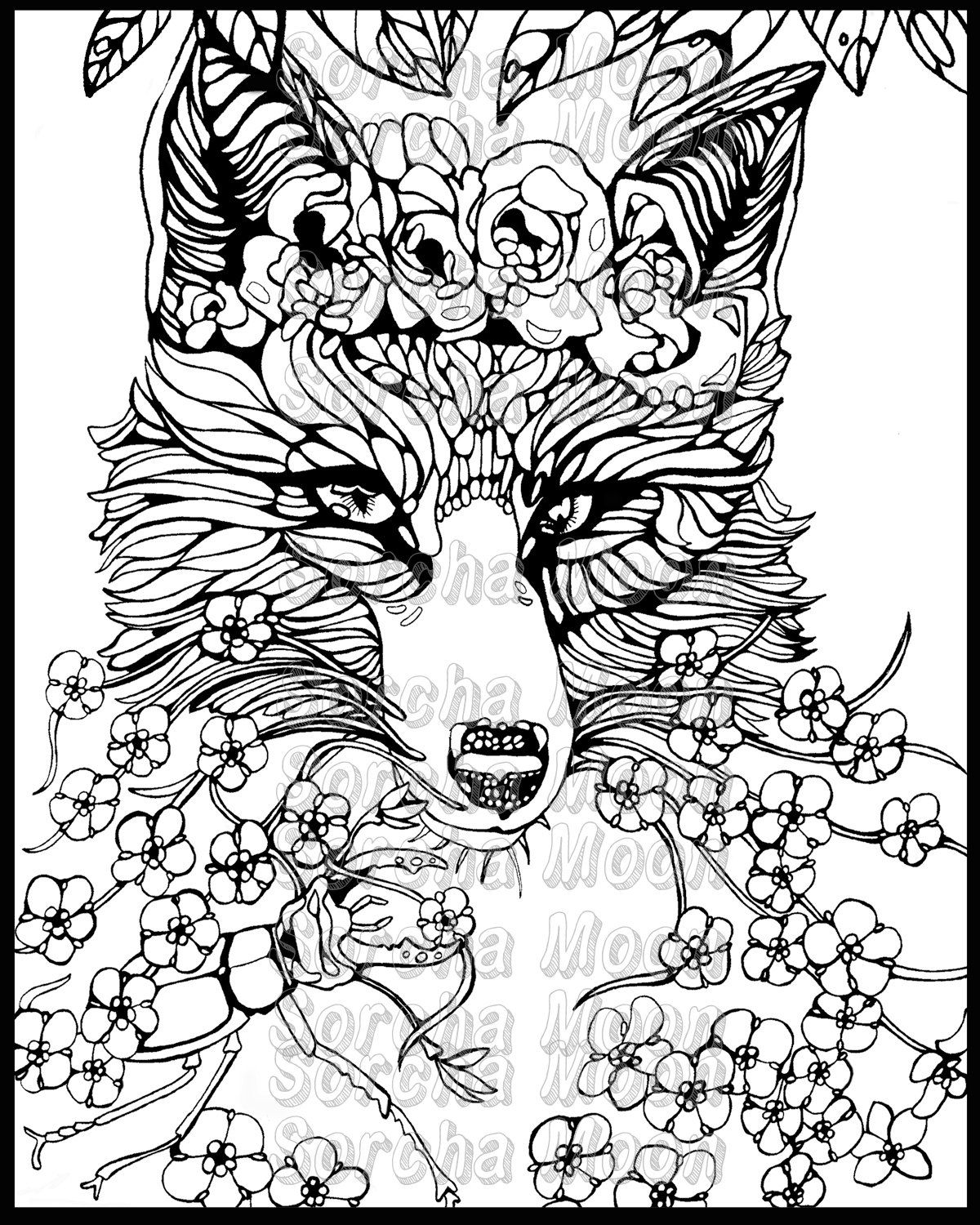 Free coloring page fox - Fox Forget Me Nots Coloring Page For Adults By Sorchamoon On Etsy