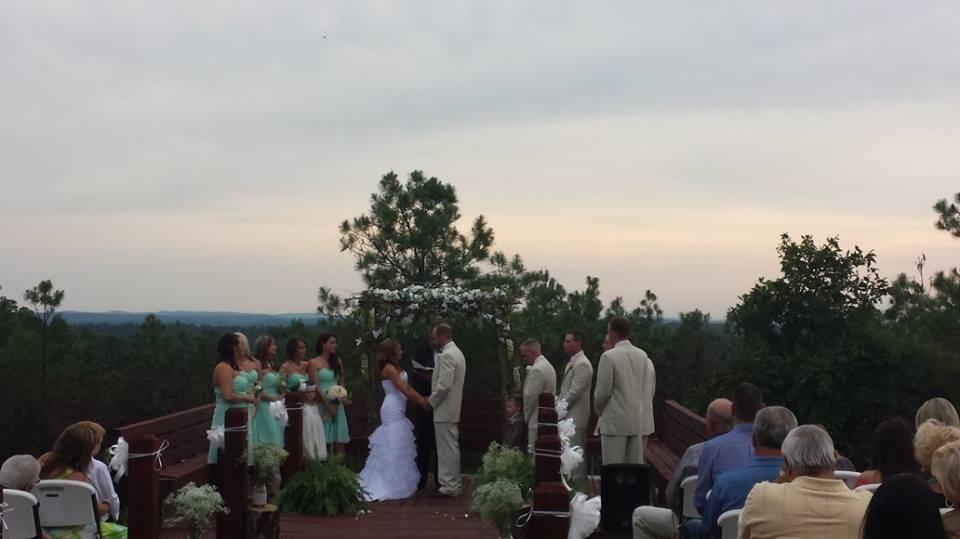 Arkansas Sunset Makes A Beautiful Backdrop For An Outdoor Wedding At Timber Lodge Ranchs Chapel