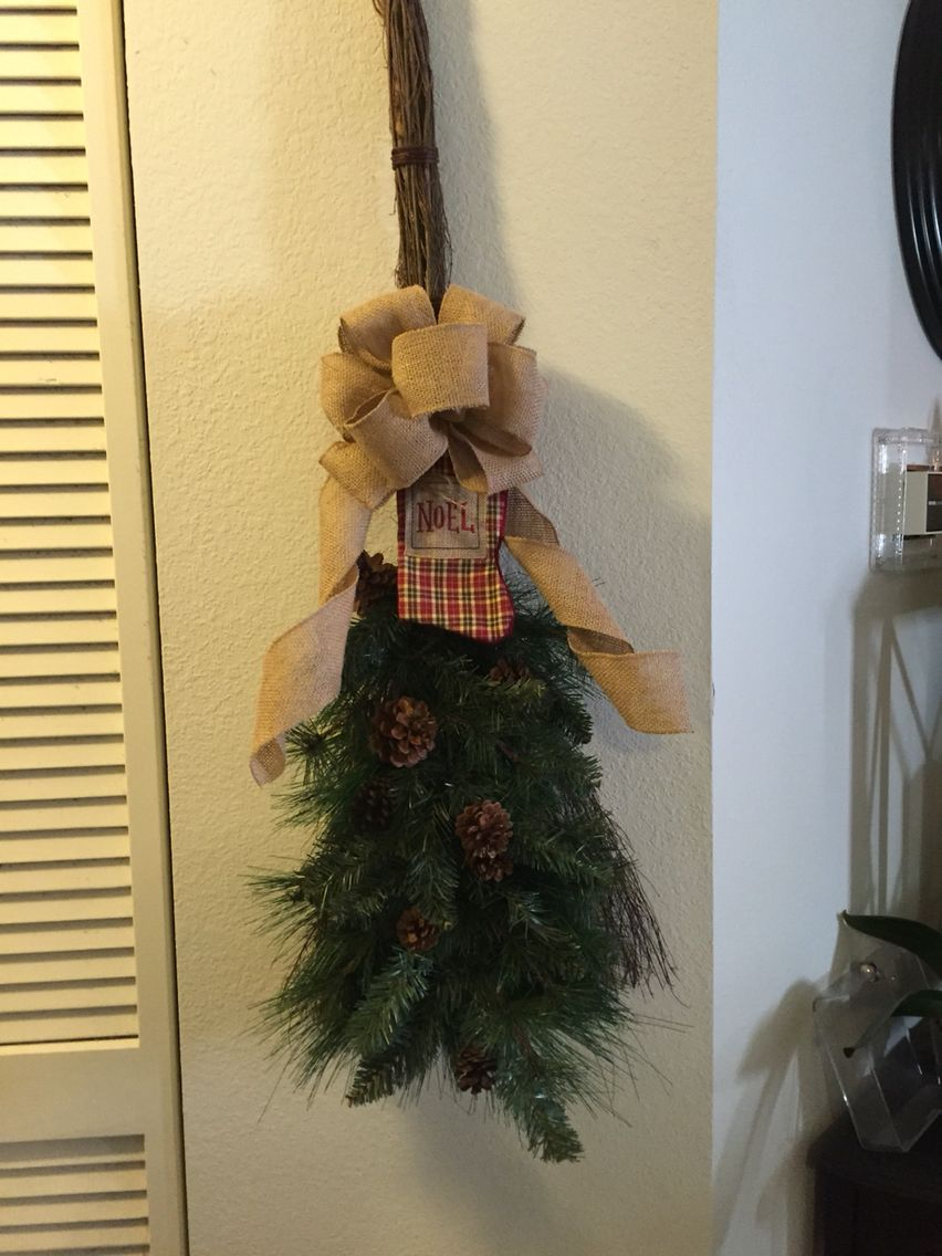 decorated an old scented broom now its a christmas broom - Christmas Broom Decoration