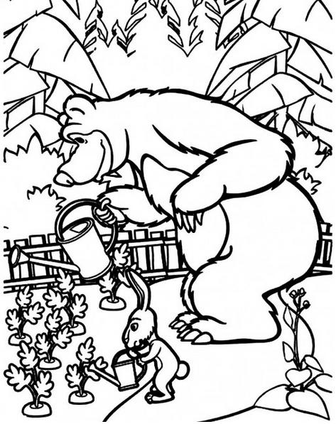 Masha E Urso Bear Boomerang Desenhos Imprimir Colorir Pintar 5