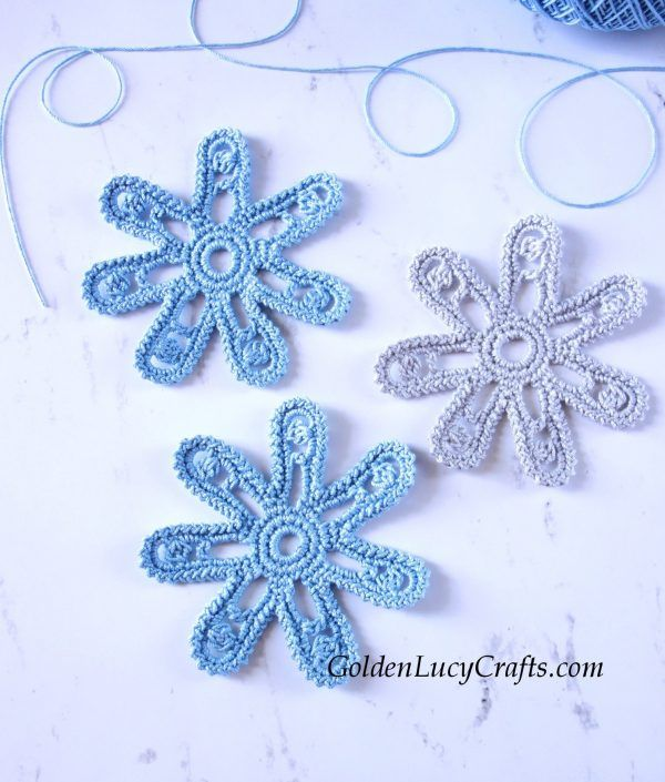 Crochet Flower, Irish Lace Motif, Free Crochet Pattern – GoldenLucyCrafts #irishlacecrochetpattern