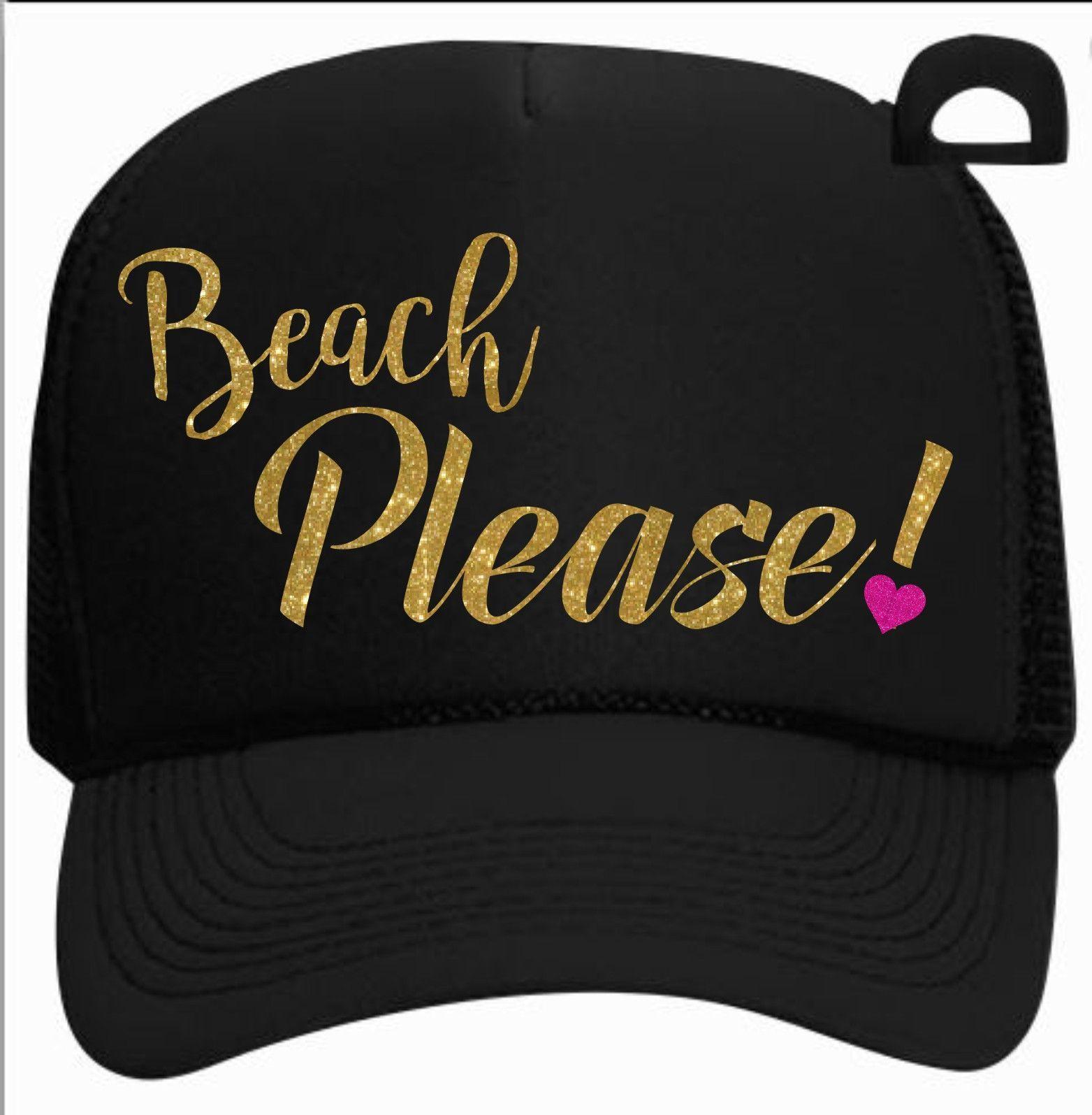 fe7d001dd Beach Please! Trucker Hat   hat projects   Hats, Black trucker hat ...