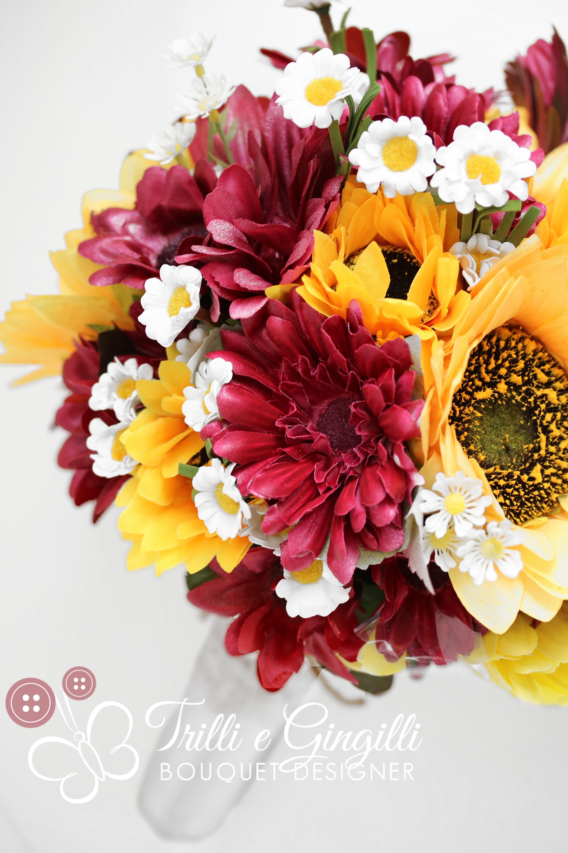 Bouquet Sposa Gerbere.Bouquet Sposa Di Girasoli Margherite E Gerbere Con Effetto Fiori