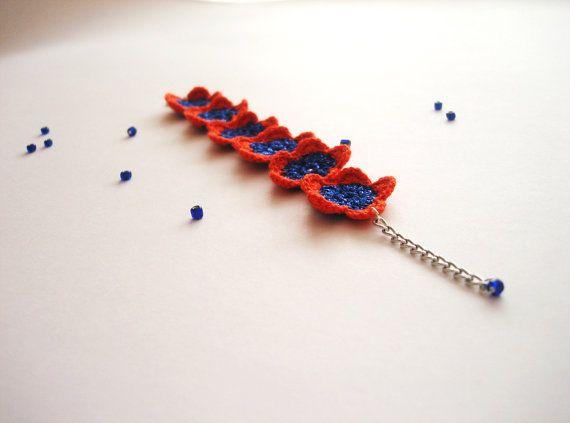 Crochet Flowers Bracelet Juicy Orange Shiny by CrochetPocket, $10.00