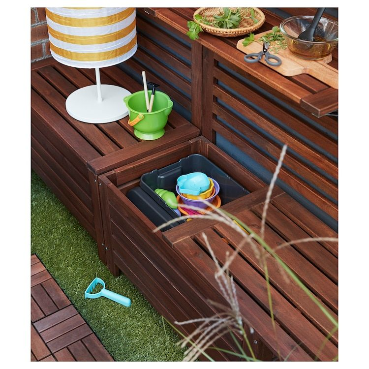 Ikea Applaro Brown Stained Brown Storage Bench Outdoor