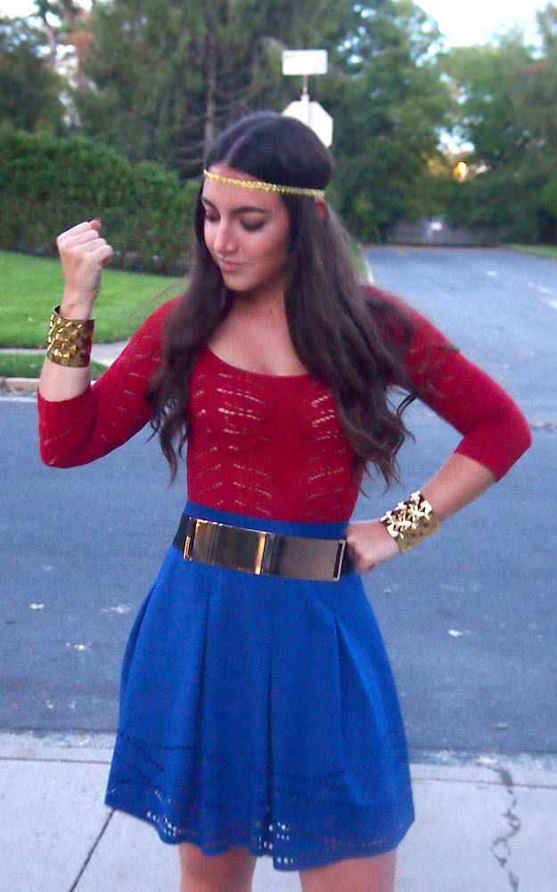 wonder woman halloween costume accessories a blue skirt and red top with a gold headband gold belt and kyrena cuffs form wild lilies jewelry for a diy