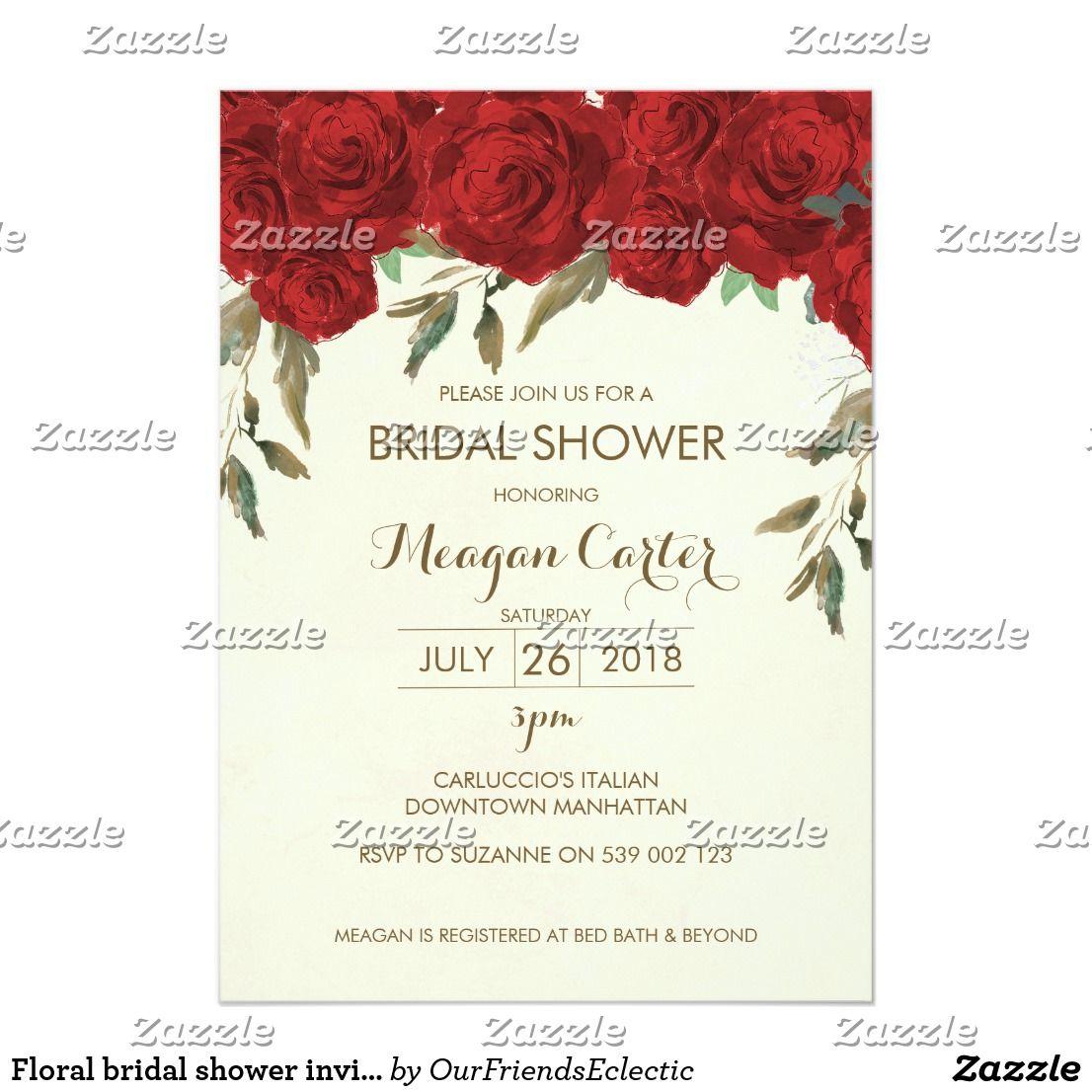 Floral bridal shower invitation ivory red roses | Pinterest | Red ...
