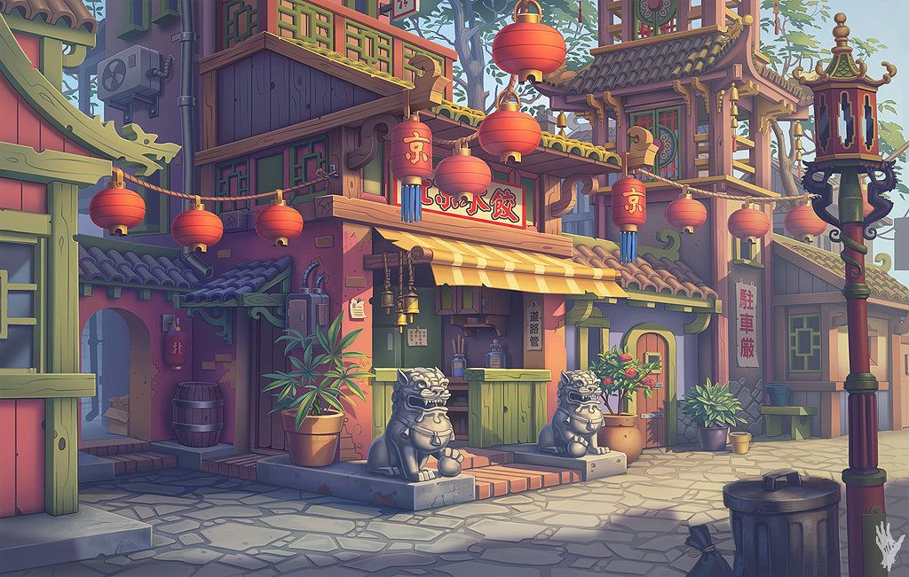 China town, Alex Shatohin on ArtStation at http//www