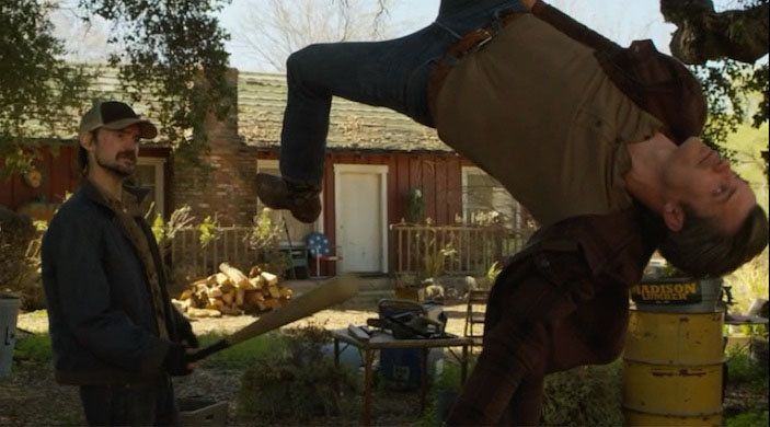 Dickie (Jeremy Davies) takes batting practice with Raylan (Timothy Olyphant) on 'Justified'