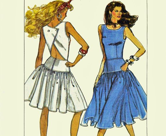 Vintage 80s Dress Pattern Backless Dress Sewing Patterns for ...