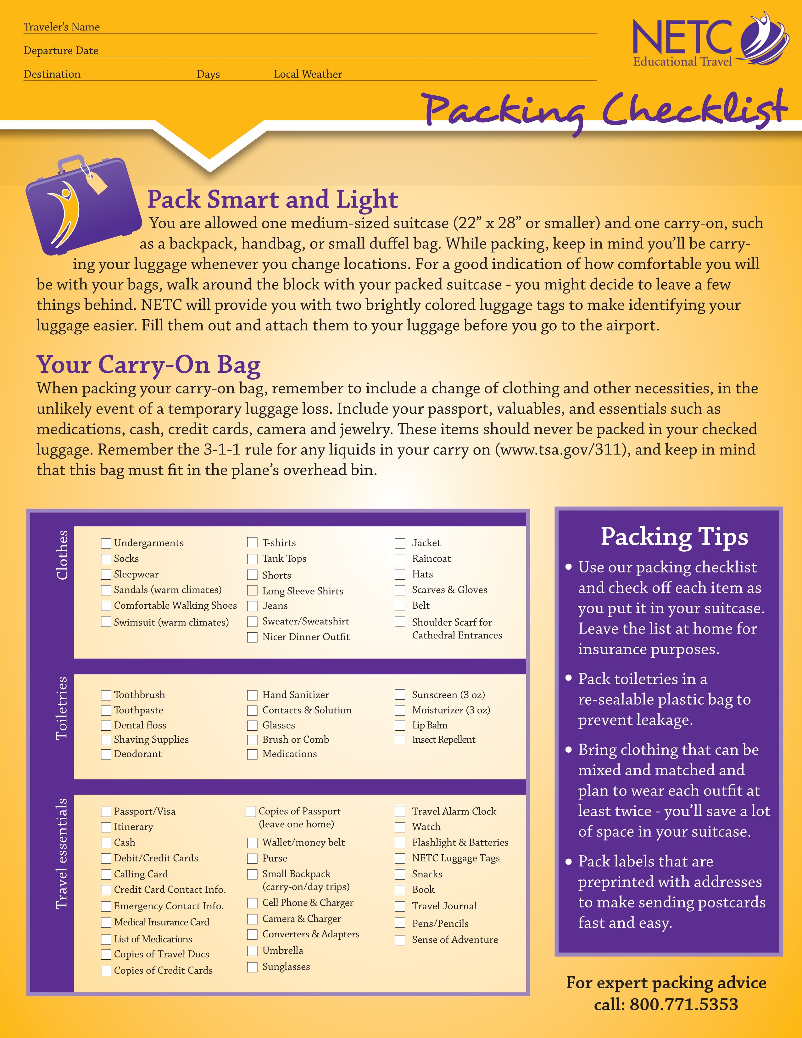 DonT Forget The Essentials With This Packing Checklist Printable
