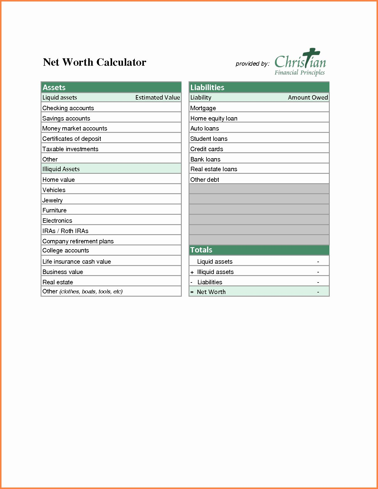 Assets and Liabilities Worksheet Awesome 9 assets and