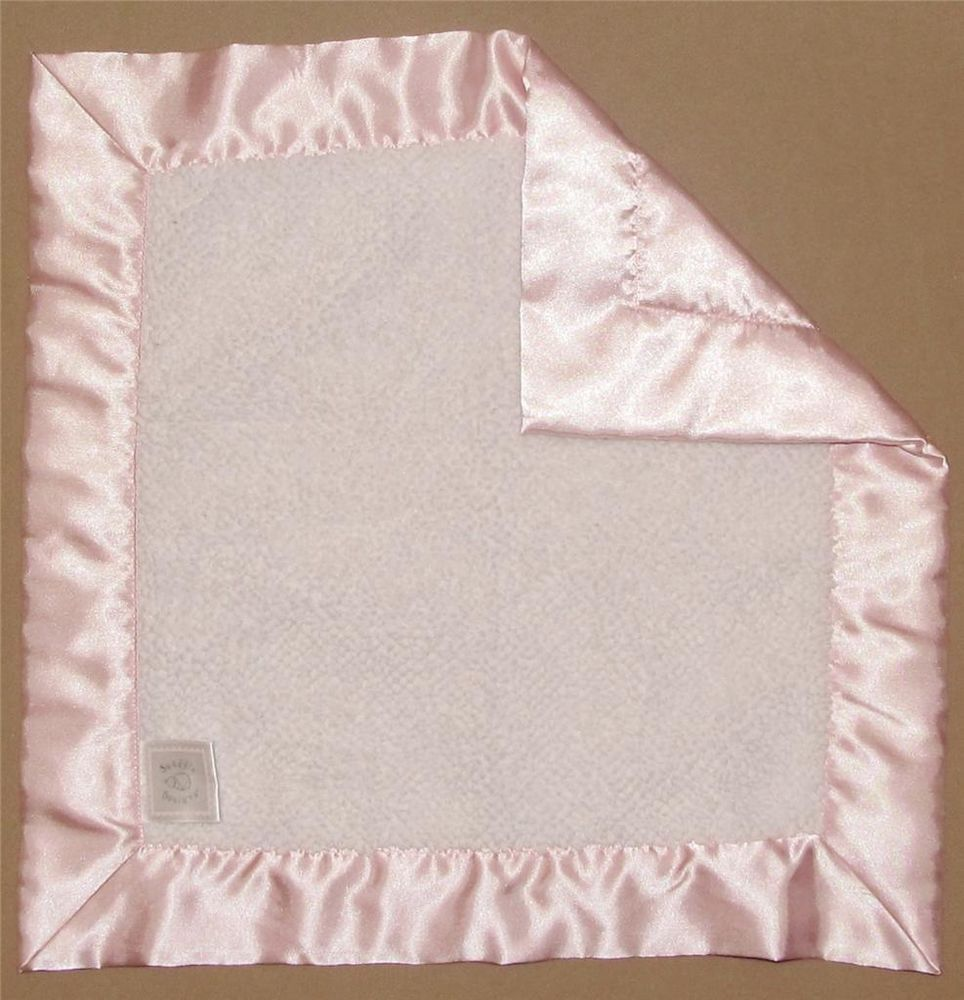 Baby Swaddle Designs White Pink Security Blanket Lovey Fluffy Square Satin Girls #SwaddleDesigns