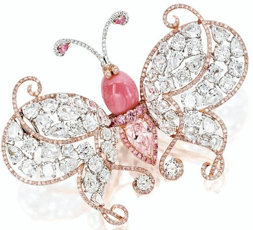 """♥ / CONCH PEARL, LIGHT PINK DIAMOND AND DIAMOND """"BUTTERFLY"""" BROOCH"""