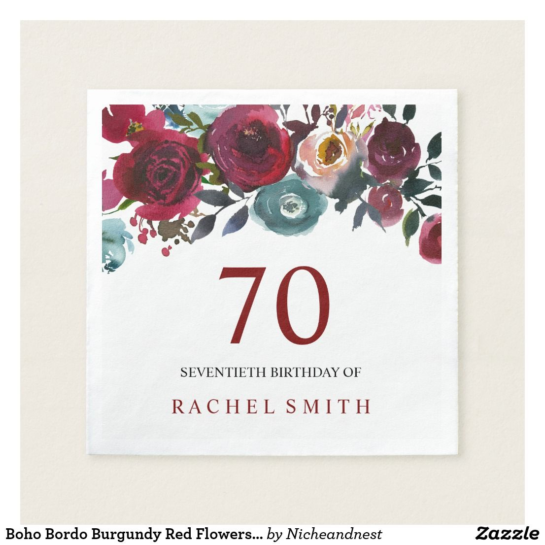 Boho bordo burgundy red flowers 70th birthday paper napkin happy boho bordo burgundy red flowers 70th birthday paper napkin boho bordo burgundy red flowers 70th birthday izmirmasajfo