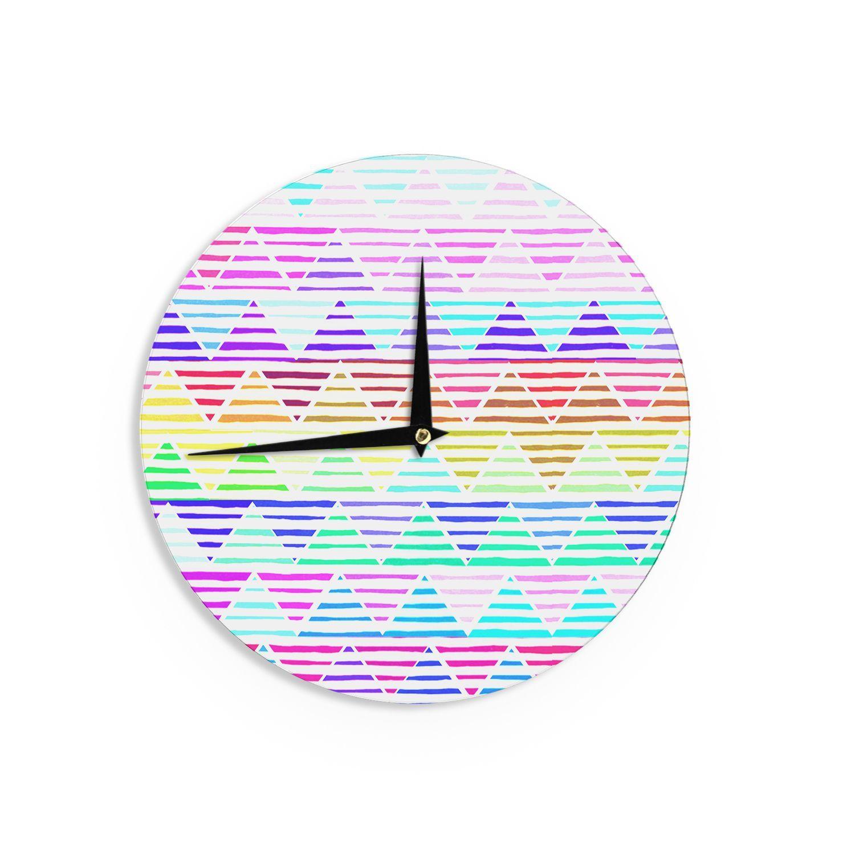Kess InHouse Sreetama Ray 'Stripes Cushion' Rainbow Chevron Wall Clock