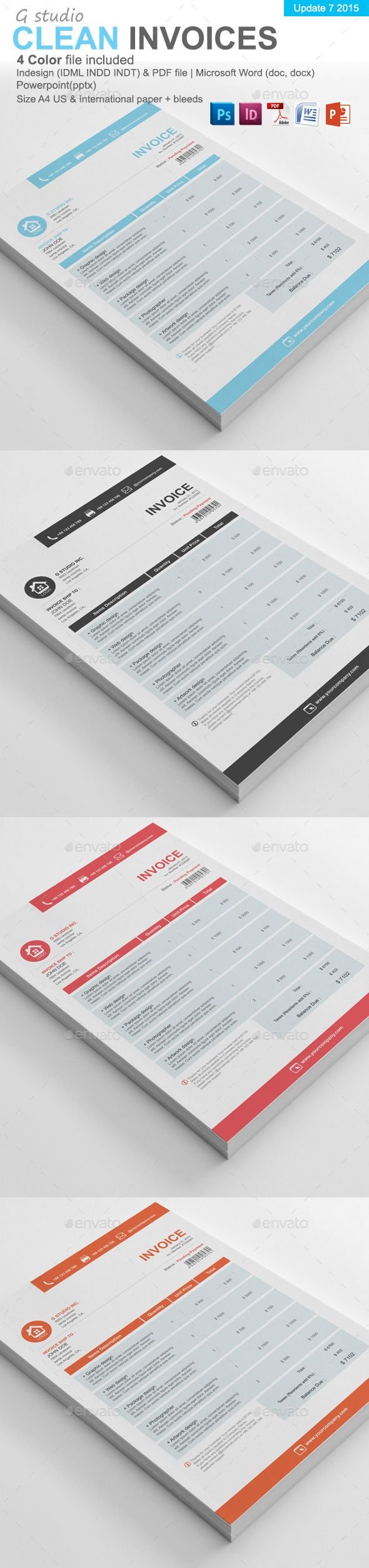 proposal template for word%0A Gstudio Clean Invoices Template
