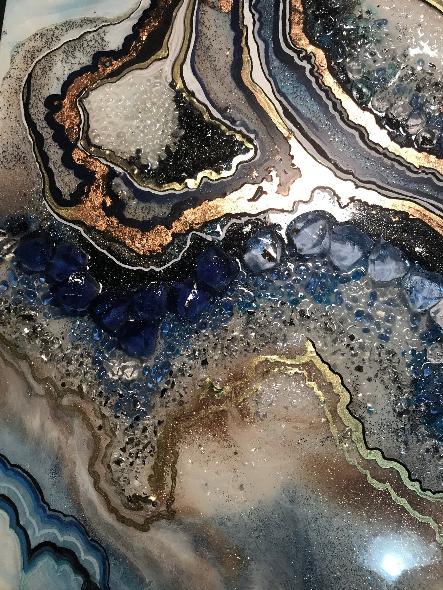 Geode Resin Art Blue And Gold Original Crystal Artwork Commission Geode Art Resin Artwork Resin Art