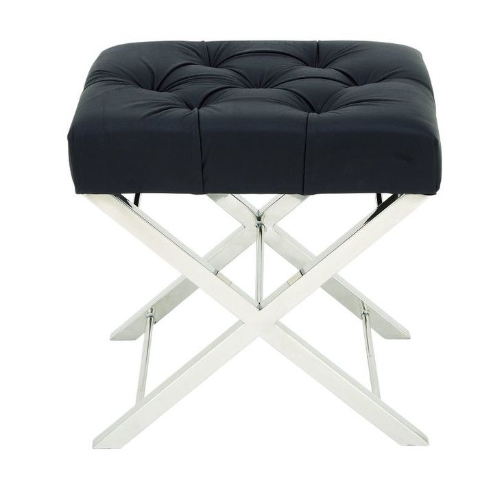 Stainless Steel And Tufted Leather Vanity Stool | Vanity Stool