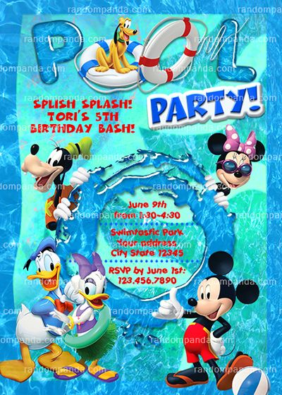 Mickey Mouse Birthday Invitation Micky Mouse Swimming Pool Party Invite Mickey Mouse Birthday Invitations Pool Party Invitations Pool Birthday Party